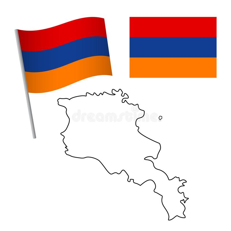 armenia flag and map royalty free illustration