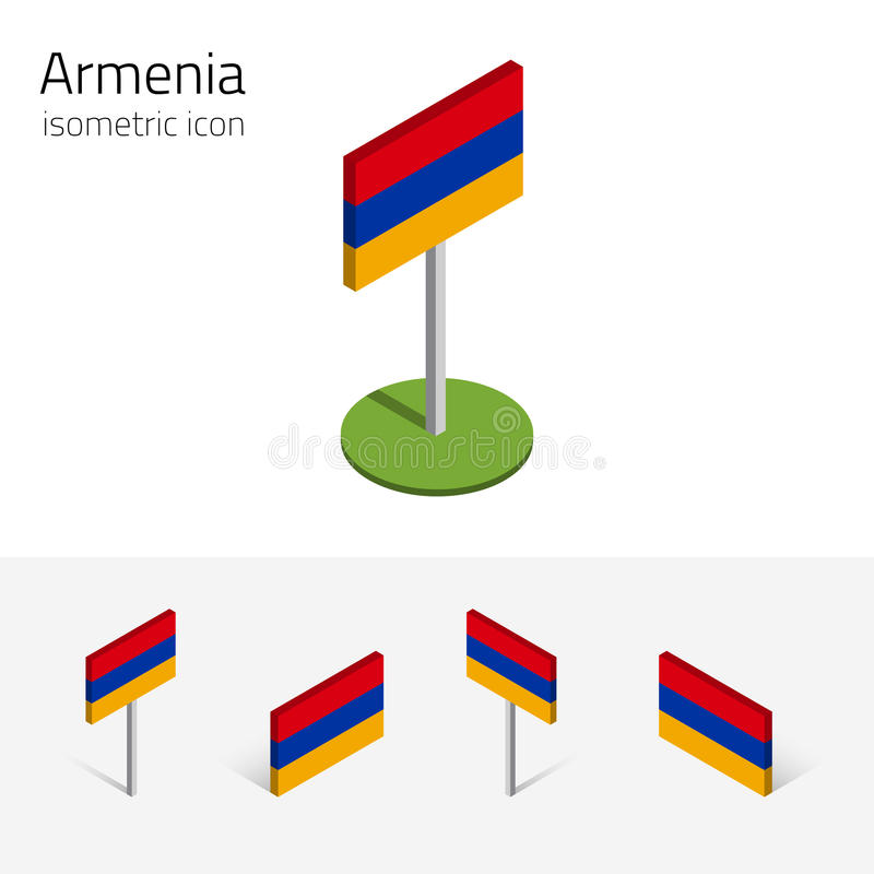 Armenia flag, vector set of 3D isometric icons royalty free illustration