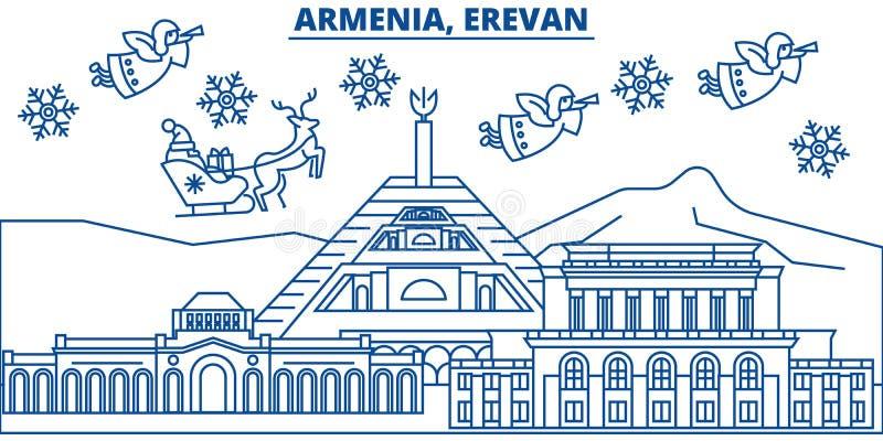 Armenia, horizonte de la ciudad del invierno de Erevan Feliz Navidad, Feliz Año Nuevo libre illustration
