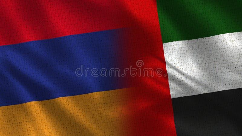 Armenia i Zjednoczone Emiraty Arabskie Przyrodnie flagi Wpólnie zdjęcie royalty free