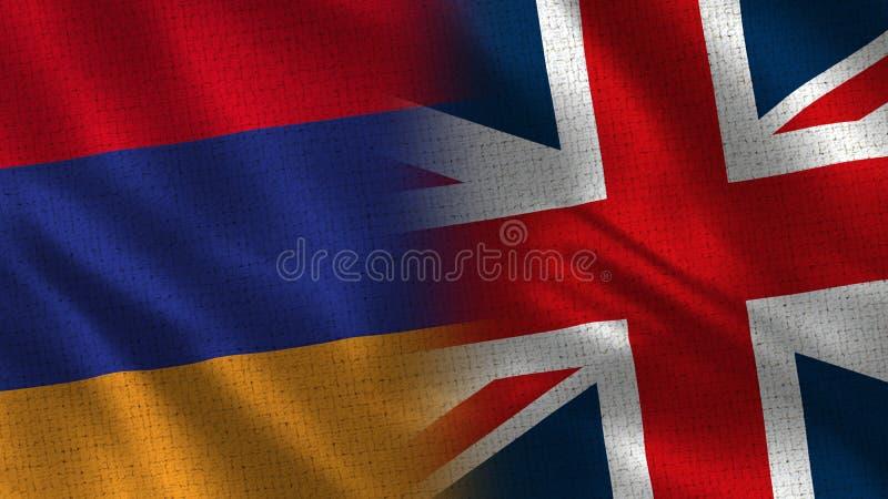 Armenia i Zjednoczone Królestwo Przyrodnie flagi Wpólnie obrazy royalty free