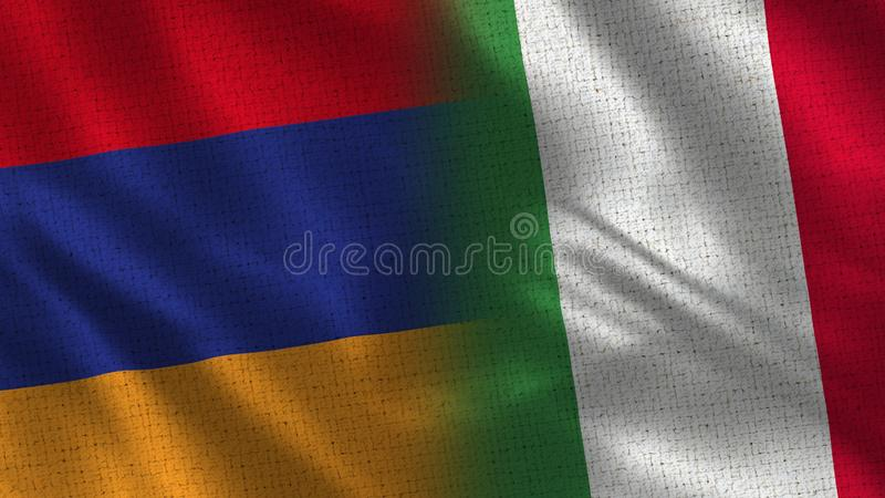 Armenia and Italy Realistic Half Flags Together vector illustration