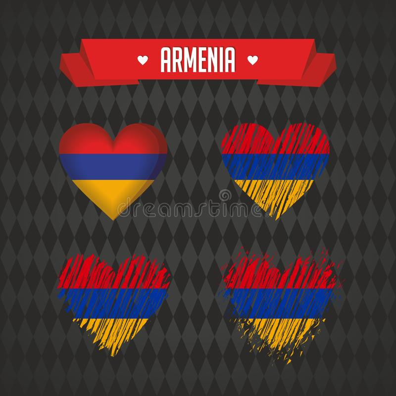Armenia with love. Design vector broken heart with flag inside. royalty free illustration