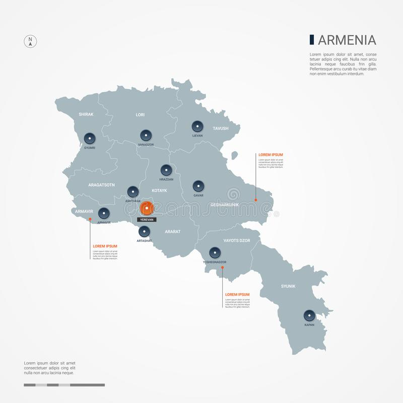 Armenia Map With Administrative Divisions. Stock Vector ... on map of southern europe cities, map of central america cities, map of france cities, map of uk cities, map of china cities, map of s korea cities, map of asia cities, map of chile cities, map of latin america cities, map of west germany cities, map of brazil cities, map of western ukraine cities, map of india cities, map of the dominican republic cities, map of dutch cities, map of new zealand cities, map of ussr cities, map of democratic republic of congo cities, map of ireland cities, map of portugal cities,