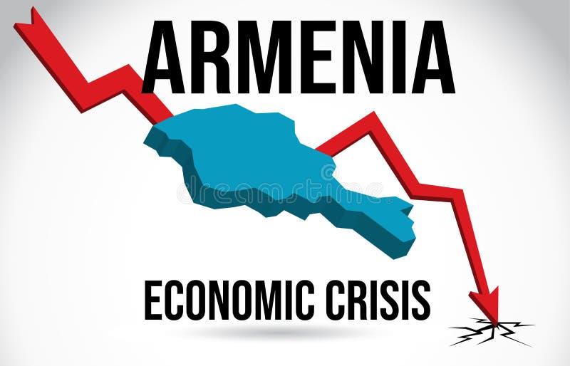 Armenia Map Financial Crisis Economic Collapse Market Crash Global Meltdown Vector. Illustration vector illustration