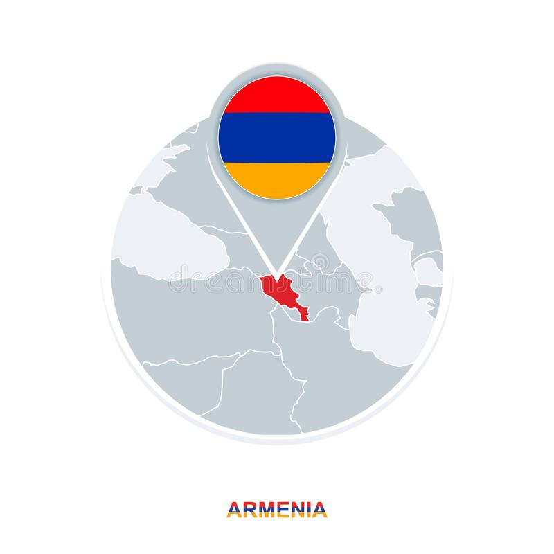 Armenia map and flag, vector map icon with highlighted Armenia stock illustration
