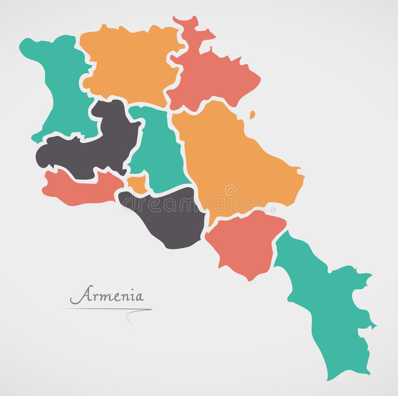 Armenia Map with states and modern round shapes. Illustration vector illustration