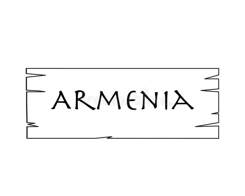 Armenia, Nombre De País Escrito En El Fondo Blanco, Marco De Madera ...