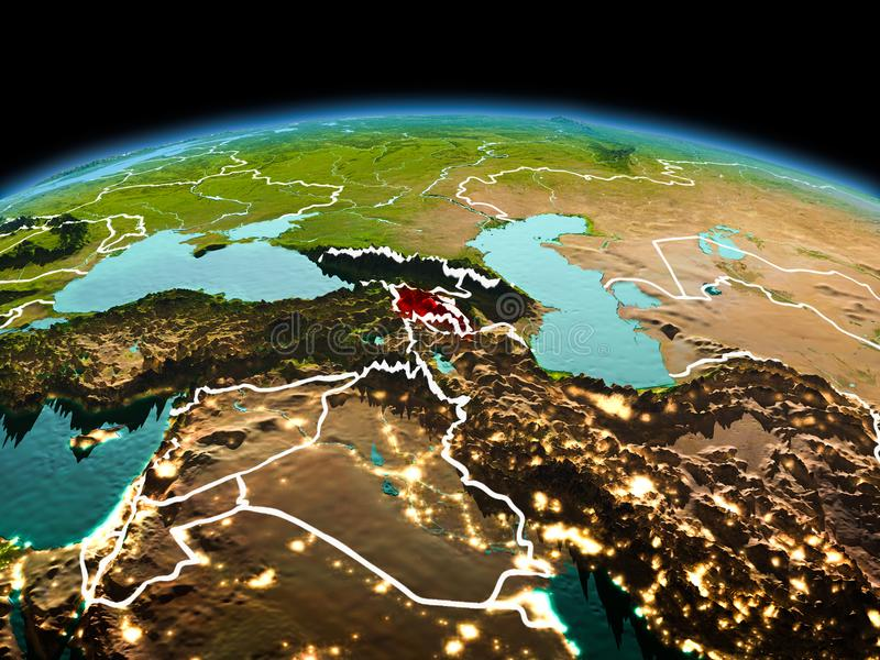 Armenia on planet Earth in space. Morning above Armenia highlighted in red on model of planet Earth in space with visible border lines and city lights. 3D stock photos