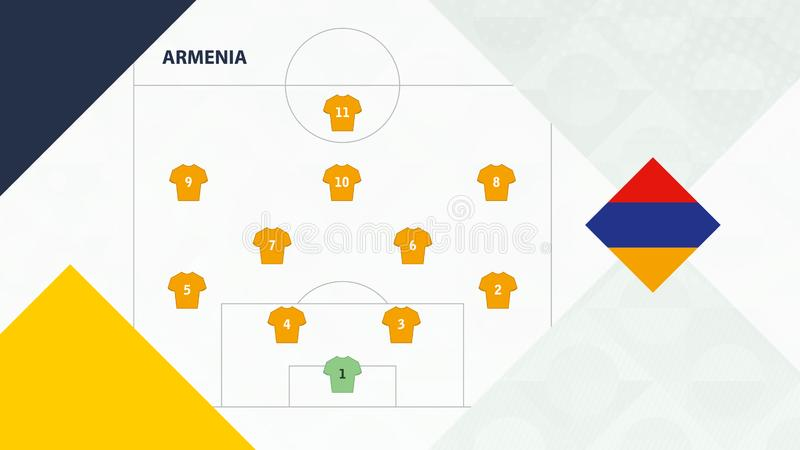 Armenia team preferred system formation 4-2-3-1, Armenia football team background for European soccer competition.  stock illustration