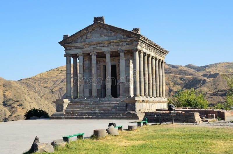 Armenia, templo pagano de Sun en Garni, siglo de I fotografía de archivo