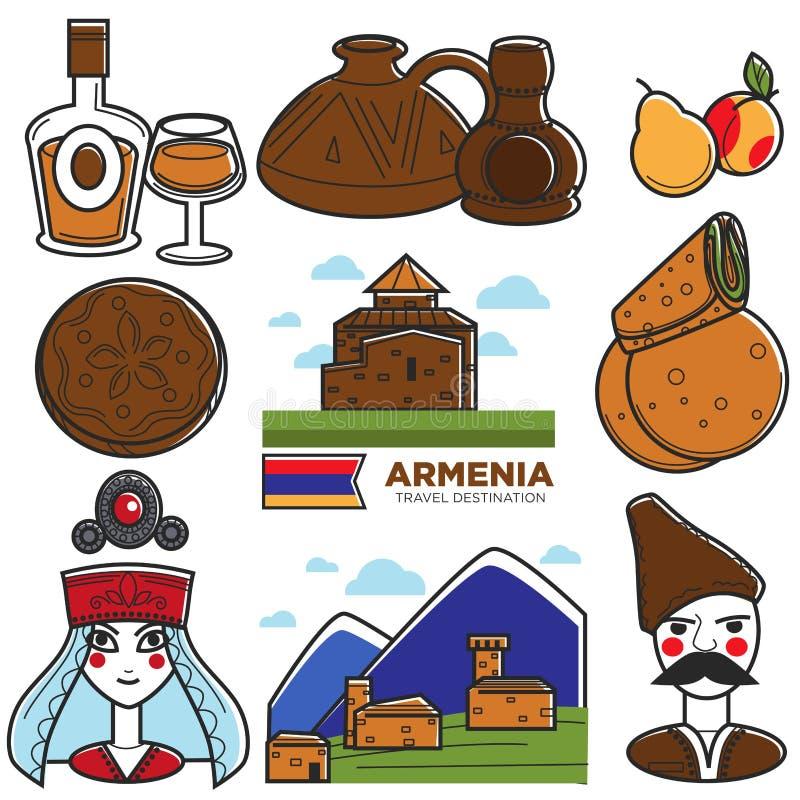 Armenia tourism travel landmarks and Armenian famous symbols vector icons set stock illustration