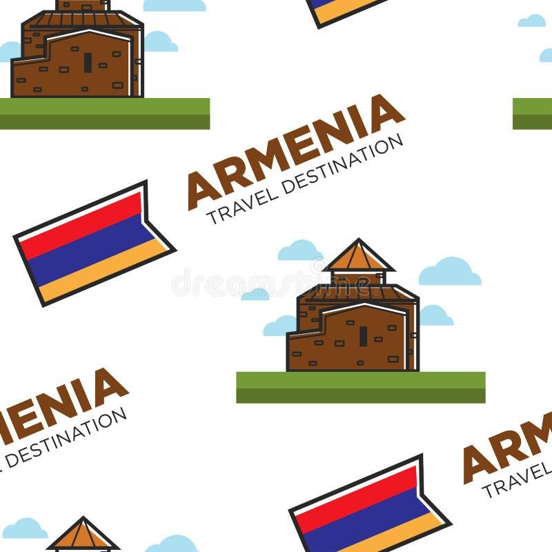 Armenian architecture Armenia travel destination seamless pattern stock illustration