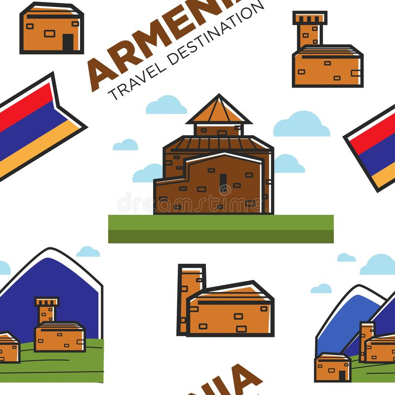 Armenian architecture and nature mountains and national flag seamless pattern stock illustration