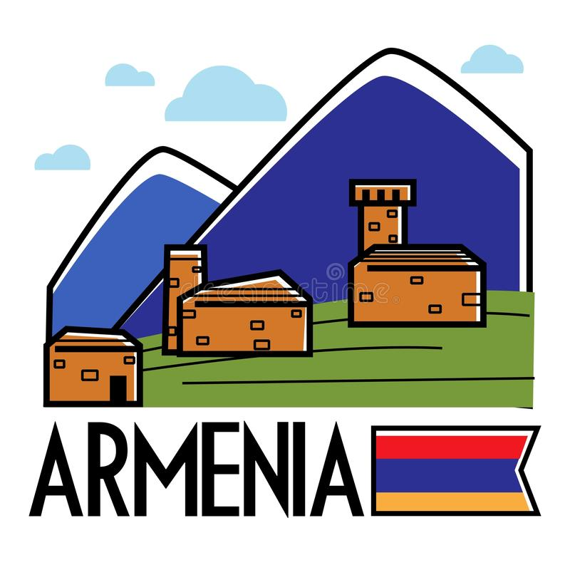 Armenia traveling and tourism ancient Armenian buildings in mountains royalty free illustration