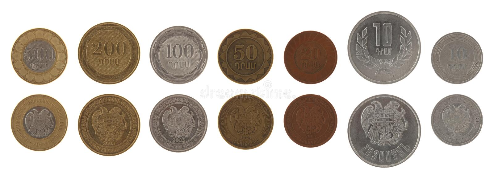 Download Armenian Coins Isolated On White Stock Photo - Image: 26945512
