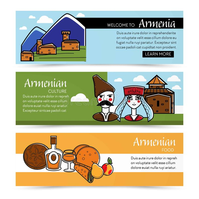 Armenian culture and food web pages nature and architecture stock illustration