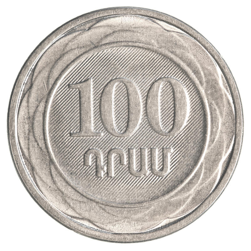 100 Armenian dollars coin stock images