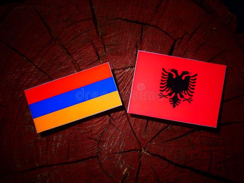 Armenian flag with Albanian flag on a tree stump isolated vector illustration