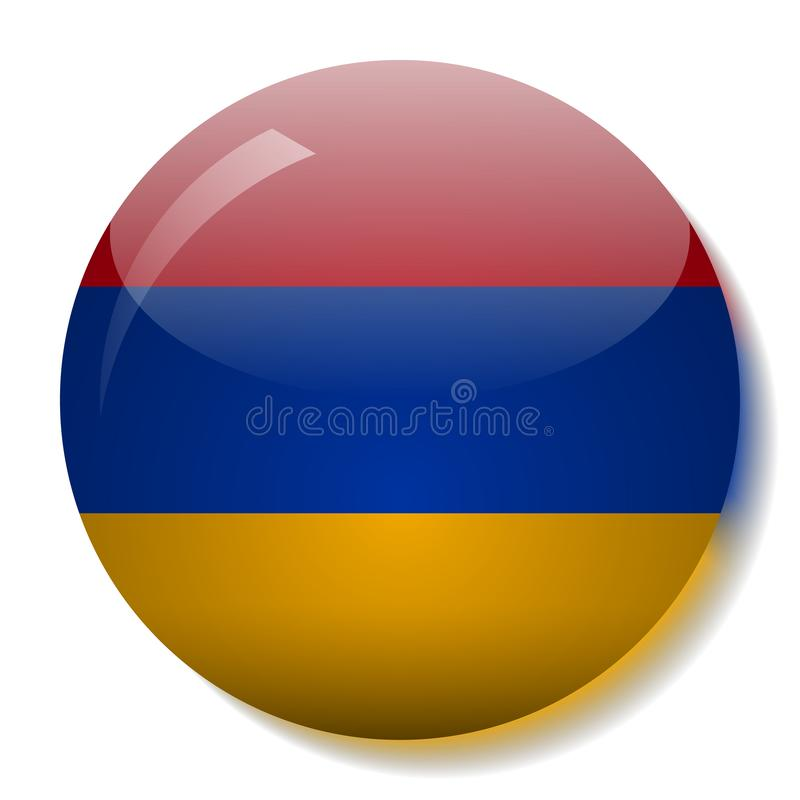 Armenian flag glass button vector illustration royalty free illustration
