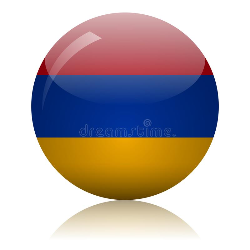 Armenian flag glass icon vector illustration stock illustration