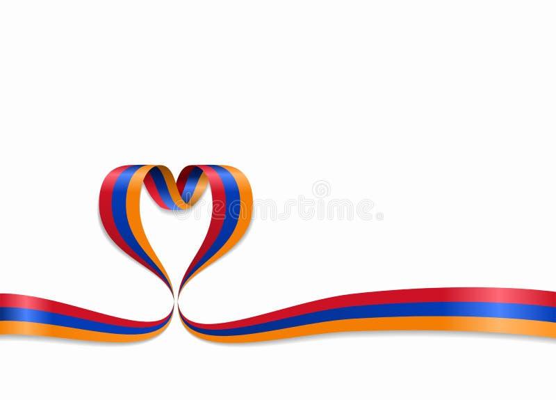Armenian flag heart-shaped ribbon. Vector illustration. royalty free illustration