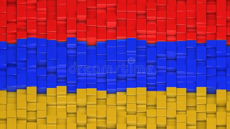 Armenian flag made of cubes in a random pattern stock illustration