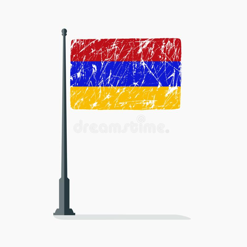Armenian flag with scratches, vector flag of Armenia on flagpole with shadow. Illustration of flag with scratches vector illustration