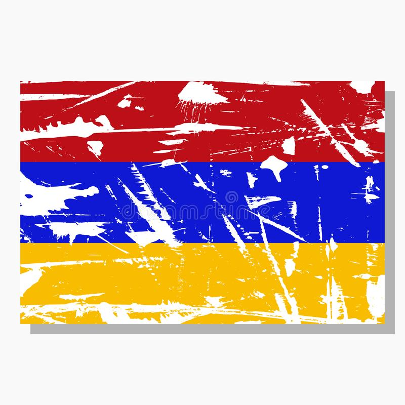 Armenian flag with scratches, vector flag of Armenia. royalty free illustration