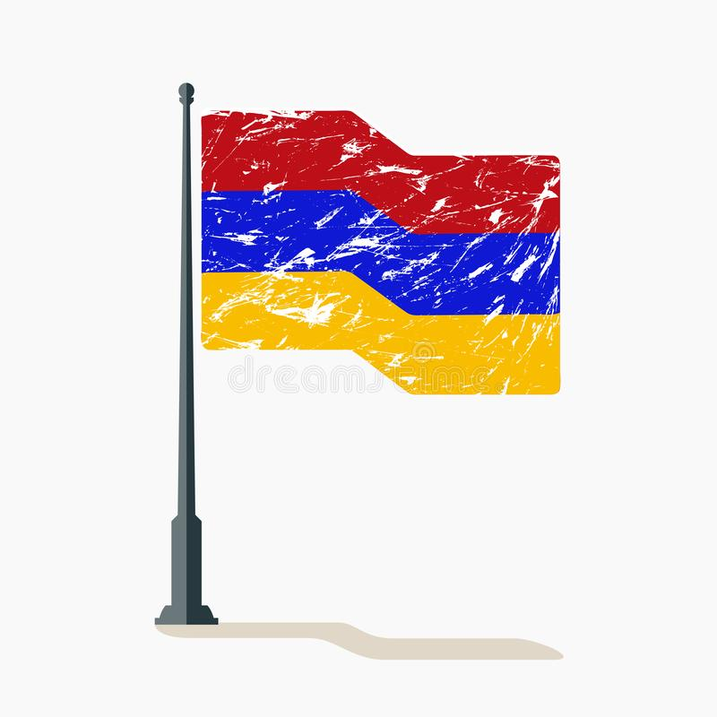 Armenian flag with scratches, vector flag of Armenia waving on flagpole with shadow. Illustration of flag with scratches royalty free illustration