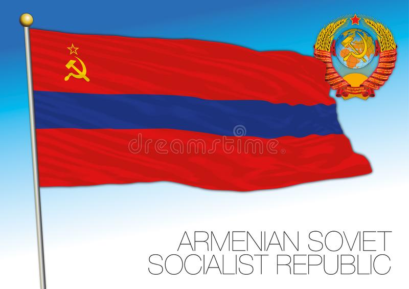 Armenian historical flag with Soviet Union coat of arms, Armenia vector illustration