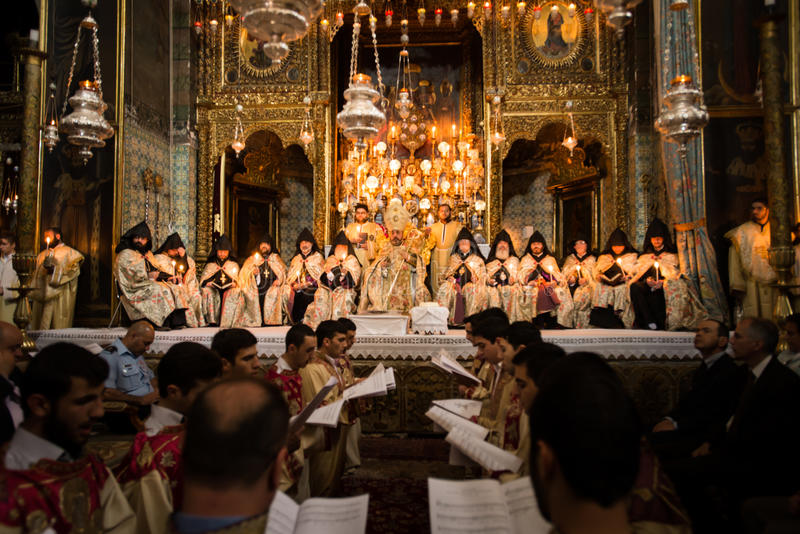 Armenian Orthodox mass in Jerusalem stock photo