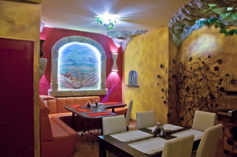 Armenian restaurant. Interior of the restaurant with armenian design royalty free stock photography