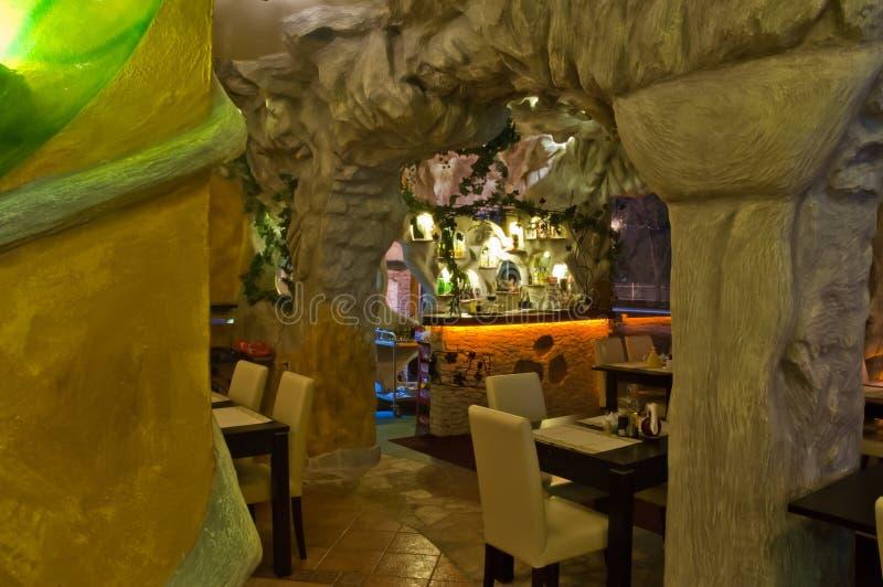 Armenian restaurant. Interior of the restaurant with armenian design stock photo