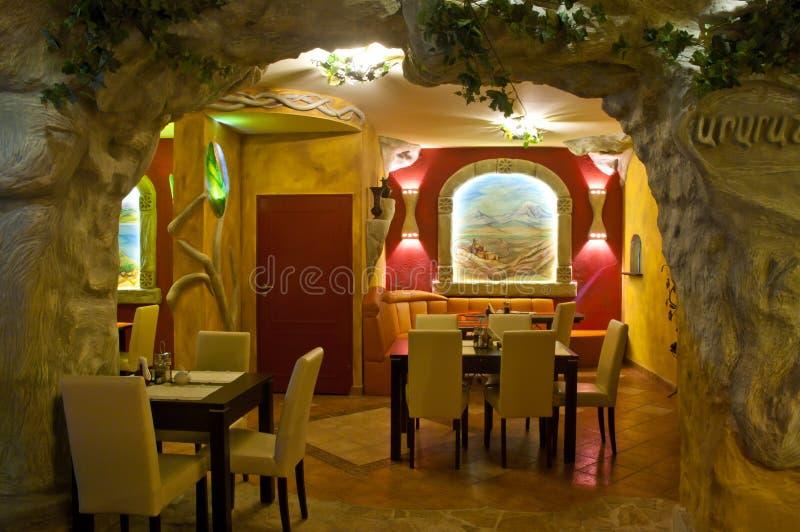 Armenian restaurant. Interior of the restaurant with armenian design stock image