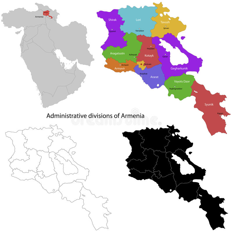 Armenien översikt vektor illustrationer