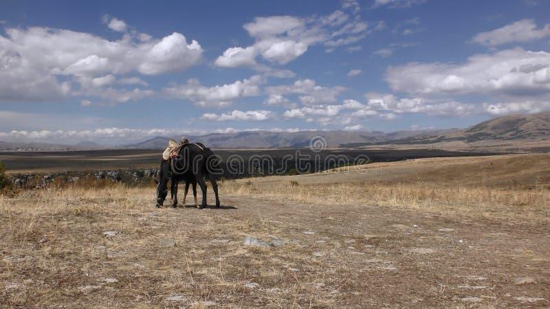 Armenien Autumn Colors i det Aragatsotn landskapet arkivbild