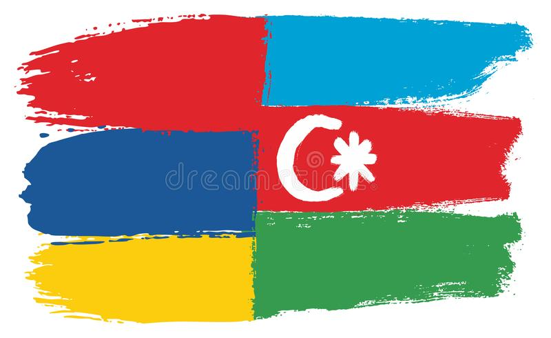 Armenien flagga & hand för Azerbajdzjan flaggavektor som målas med den rundade borsten stock illustrationer