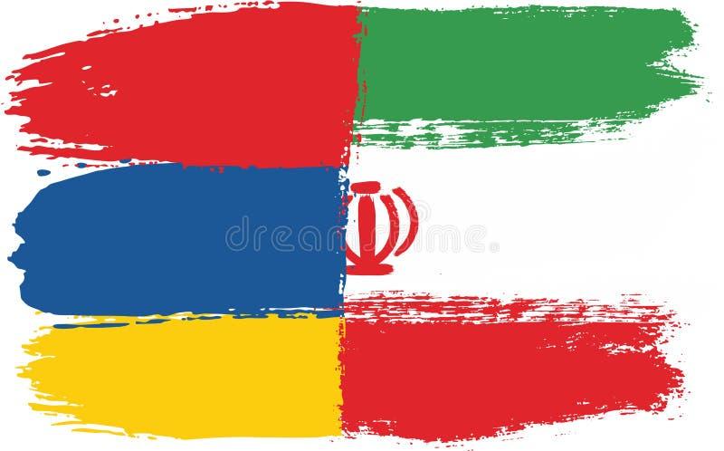 Armenien flagga & hand för Iran flaggavektor som målas med den rundade borsten royaltyfri illustrationer