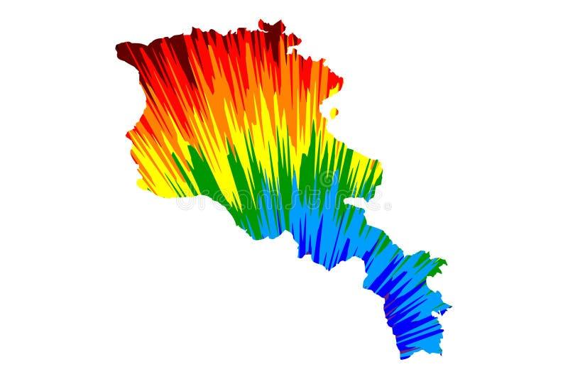 Armenien - Karte ist entworfenes buntes Muster der Regenbogenzusammenfassung, Republik- Armenienkarte machte von der Farbexplosio vektor abbildung