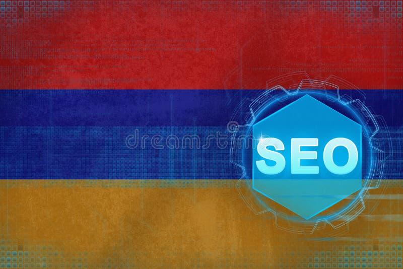 Armenien seo (sökandemotoroptimization) Begrepp för sökandemotoroptimisation royaltyfri illustrationer