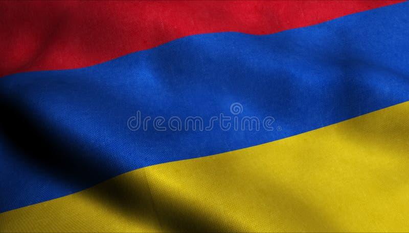 Armenien vinkande flagga i 3D stock illustrationer