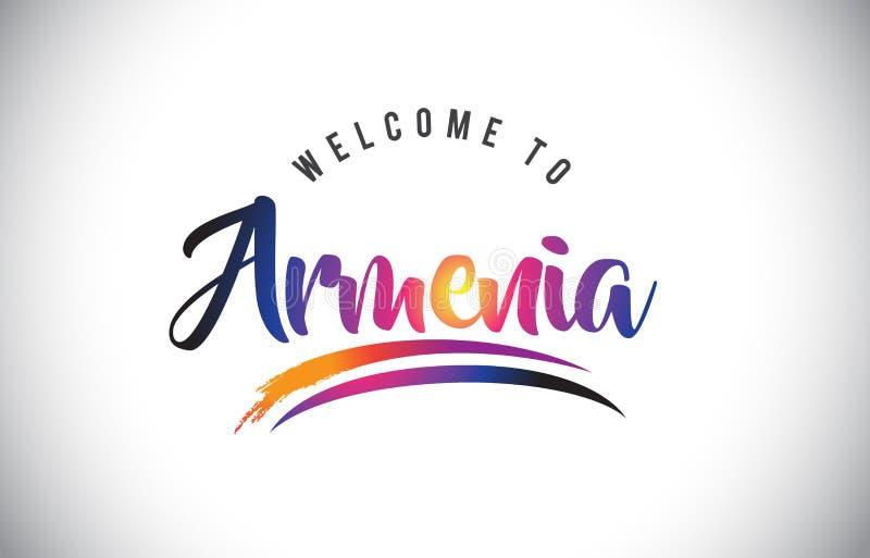 Armenien-Willkommen zur Mitteilung in den purpurroten vibrierenden modernen Farben lizenzfreie abbildung
