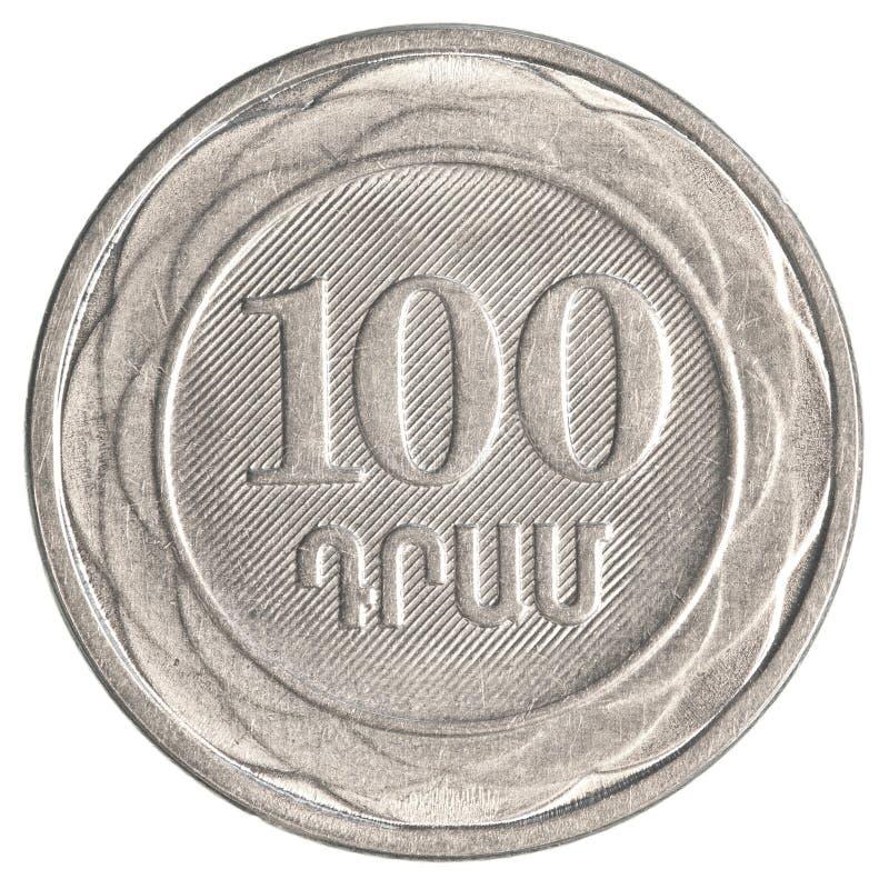 100 armenische Dollar Münze stockbilder