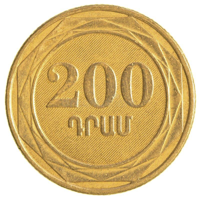 200 armenische Dollar Münze stockfotos