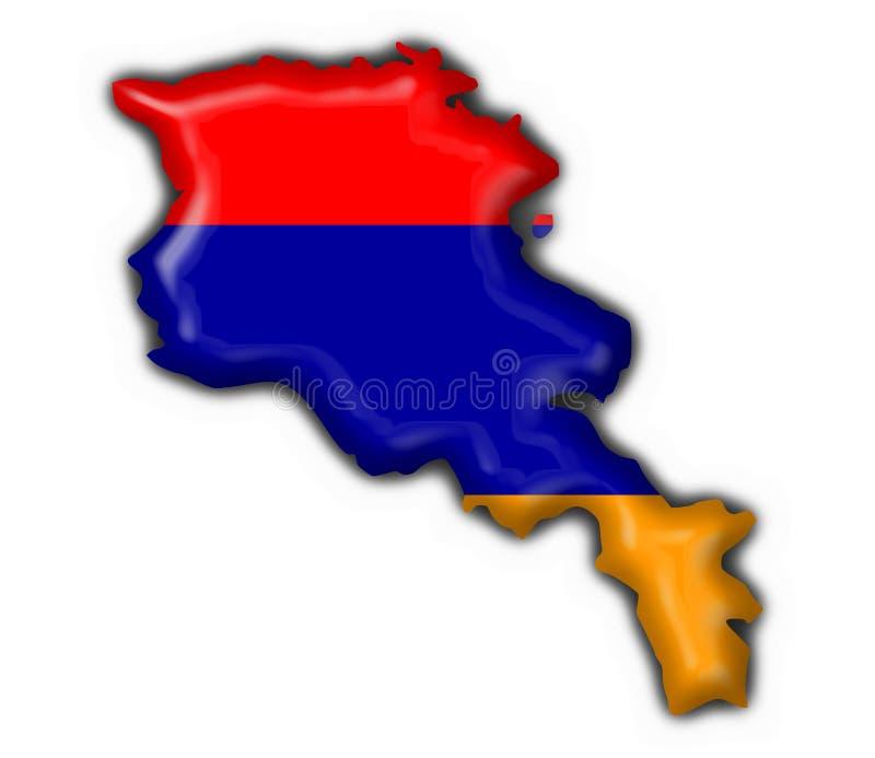 armenisk form för knappflaggaöversikt stock illustrationer