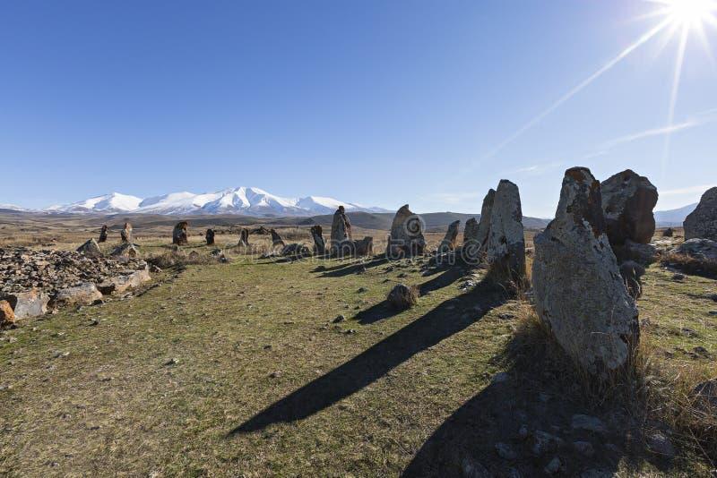 Armenisk stenhenge som är bekant också som Zorats Karer eller Karahunj royaltyfri fotografi