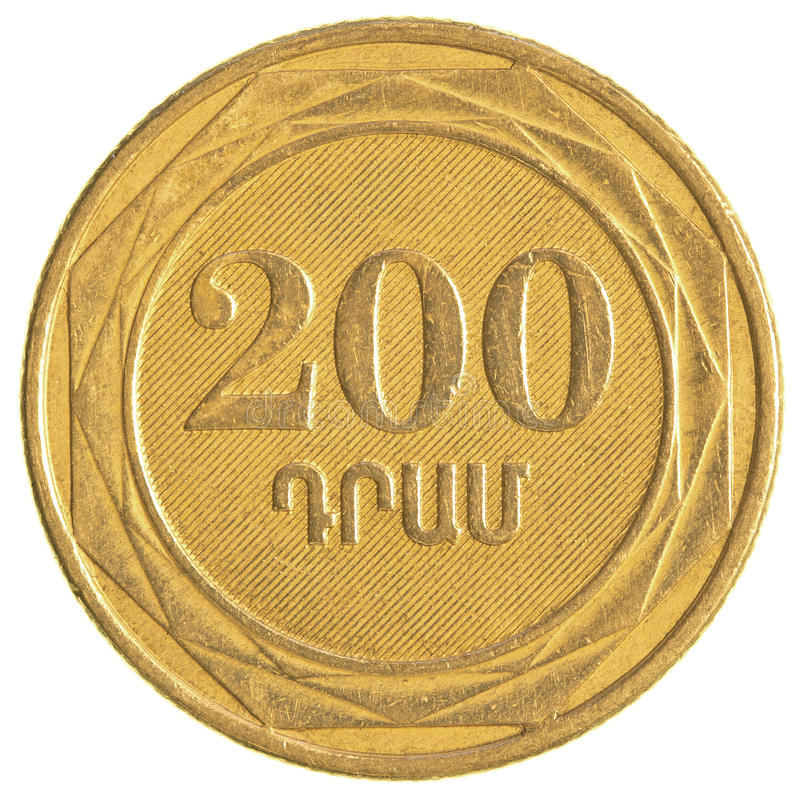 200 armeniska dollar mynt arkivfoton