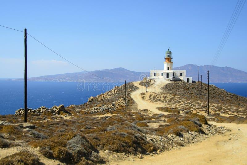 Armenistis lighthouse royalty free stock image