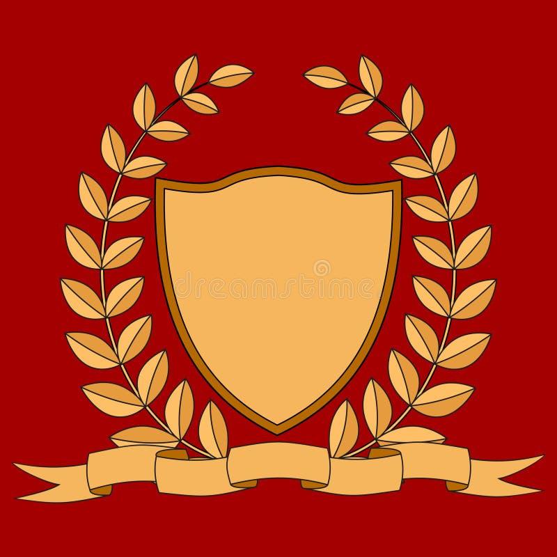 armería Escudo, cinta, guirnalda del laurel Imagen del vector stock de ilustración